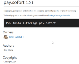 Screenshot nuget pay.sofort
